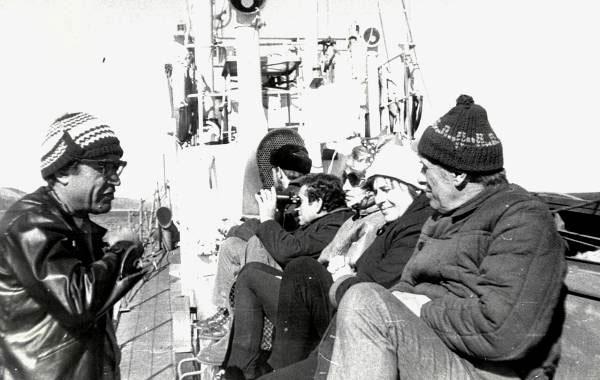 На морской практике. Б.А. Соколов, сотрудники и студенты кафедры